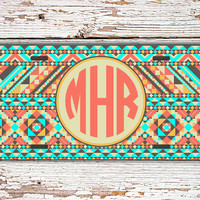 Cute license plate personalized front car tag - Aztec tribal pattern in light aqua and tan - monogrammed car tag, tribal bike license (1272)