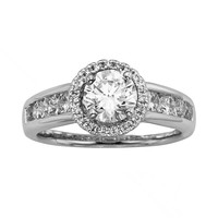 Round-Cut IGL Certified Diamond Halo Engagement Ring in 14k White Gold (1 3/4 ct. T.W.)