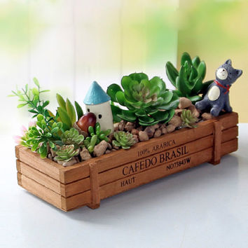 Antique Wooden Table Sundries Container Cosmetics Storage Box Home Multifunctional Flowerpot Office House Home decoration
