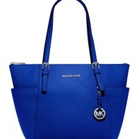 MICHAEL Michael Kors Jet Set Large Top-Zip Leather Tote in Electric Blue