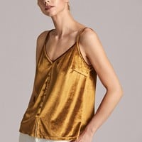 Button Front Cami Velvet Top