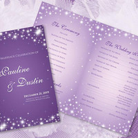 DIY Printable Wedding Program Template | Editable MS Word file | 8.5 x 11 | Instant Download | Winter New Years Sparkles Lilac Purple