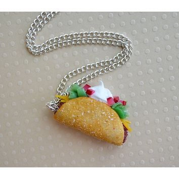 Taco Polymer Clay Food Necklace