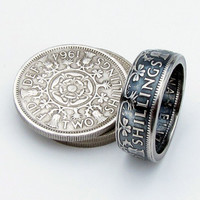 Two Shilling United Kingdom British Elizabeth II Coin Ring,Unique Ring,Coin Jewelry,Mens,Rings