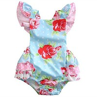 Summer born Toddler Infant Baby Girl Floral Romper Butterfly sleeves Jumpsuit Kid Outfit Clothes Set
