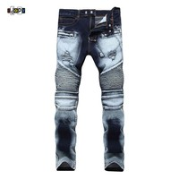 Mens Biker Jeans Multi Pockets Ripped Distressed Destroyed Motorcycle Jeans