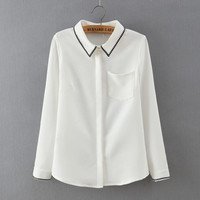 White Embroidered Collar Long-Sleeve Button Shirt With Pocket