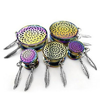 Pair of Stainless Steel Screw Fit Tunnel Rainbow Plated Mandala Inlay with Leaf Dangle Plug (9/16'' 14mm) (16MM 5/8'')