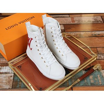 LV Louis Vuitton Women's Leather High Top Sneakers Shoes