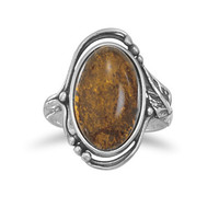 Large Amber Ring with Leaf and Bead Design