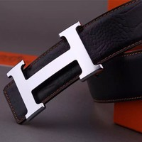 %%% Hermes Classic Men's 38MM Reversible Black Belt 110cm Size 40-42