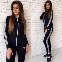 Adidas Fashion Long Sleeve Shirt Sweater Pants Sweatpants Set Two-Piece Sportswear