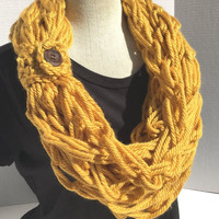 Kay's Crochet Arm Knit Crochet Bulky Rope Scarf In Mustard Yellow with Button