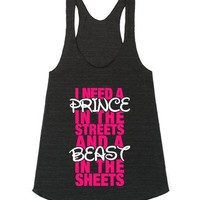 Prince In Streets Beast In The Sheets-Athletic Tri Black Tank