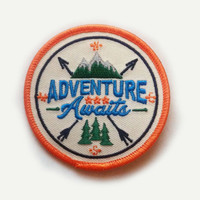 """Adventure Awaits Iron On Patch - 2.78"""" Round - Iron On or Sew On Patch Appliqué"""