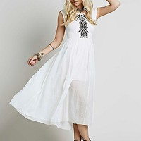 Free People Womens Meadows Embroidered Maxi