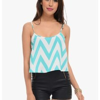 Teal Lined Up Chevron Stripe Crop Top   $10   Cheap Trendy Blouses Chic Discount Fashion for Women