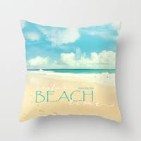 Beach time Throw Pillow by Sylvia Cook Photography   Society6