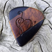 Handmade Multi-Wood Premium Guitar Pick - Laser Engraved - Actual Pick Shown - No Stock Photos - Treble & Bass Clef Heart