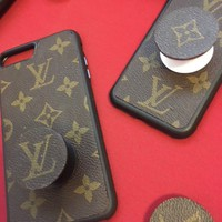 Handcrafted Phone Holder/Stand handmade with re-purposed Authentic Louis Vuitton Canvas