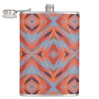 Red Orange Blue Geometric Knitted Look Flask