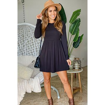 Black Solid Short Dress with Long Sleeves