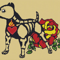 Modern Cross Stitch Kit 'Skeleton Pit Bull' By Illustrated Ink - Day of the Dead Needle Craft Pattern with DMC Materials
