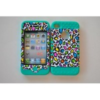Colorful Leopard on Teal Silicone Iphone 4 4g 4s 2 in 1 Rubber Cover Case: Cell Phones & Accessories