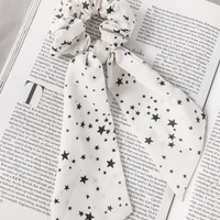 May White Star Print Scrunchie & Scarf