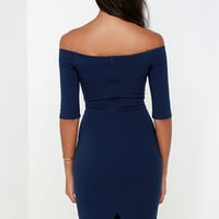 Girl Can't Help It Navy Blue Off-the-Shoulder Midi Dress