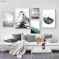 Nature Poster Canvas Painting Black and White Wall Art Poster and Print Wall Pictures Office Decor Mountain Beach Canvas Prints