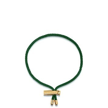 Men's Green String Bracelet with Adjustable Lock