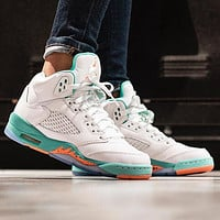 Bunchsun Air Jordan 5 Fashion Women Sport Running Basketball Shoes Sneakers White&Mint Green
