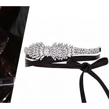 New full diamond wings bow pu leather necklace
