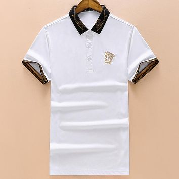 Versace New Embroidered Letter Men's Lapel POLO Shirt Half Sleeve T-Shirt white