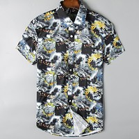 Versace Casual Men Buttons Short Sleeve V-Neck  Shirt Top Tee