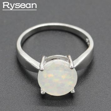 Round Australia Fire White Blue Opal 925 Sterling Silver Ring for Women Bridal Rysean