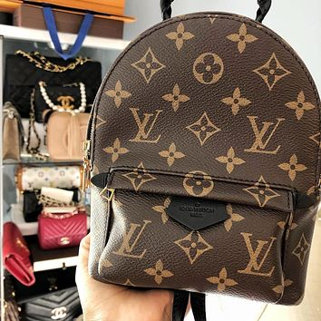 LV fashion more letter leather book bag backpack bag