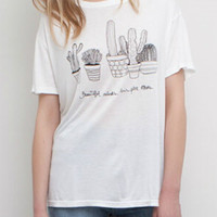 White Cacuts Printed Short Sleeve T-shirt