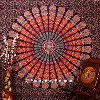Mandala Hippie Hippy indian tapestry wall hangings Throw Cotton fabric Bedcover Bohemian Bedsheet Decor BedSpread Ethnic Decorative wall Art