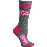 GREEN BAY PACKERS MARBLE GRAY PINK SOCKS WOMEN'S SIZE MEDIUM FOR BARE FEET