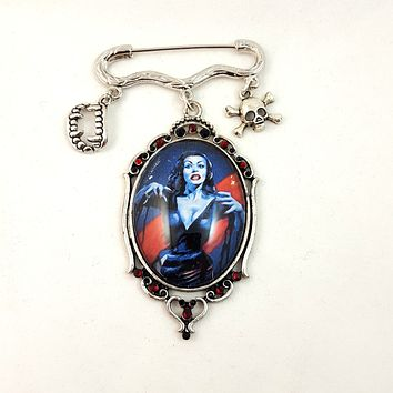 Kilt Pin Brooch with Spooky Charms