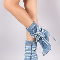 Liliana Distressed Denim Stiletto Ankle Boots