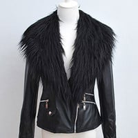Leather Zipper Jacket with Fur Collar