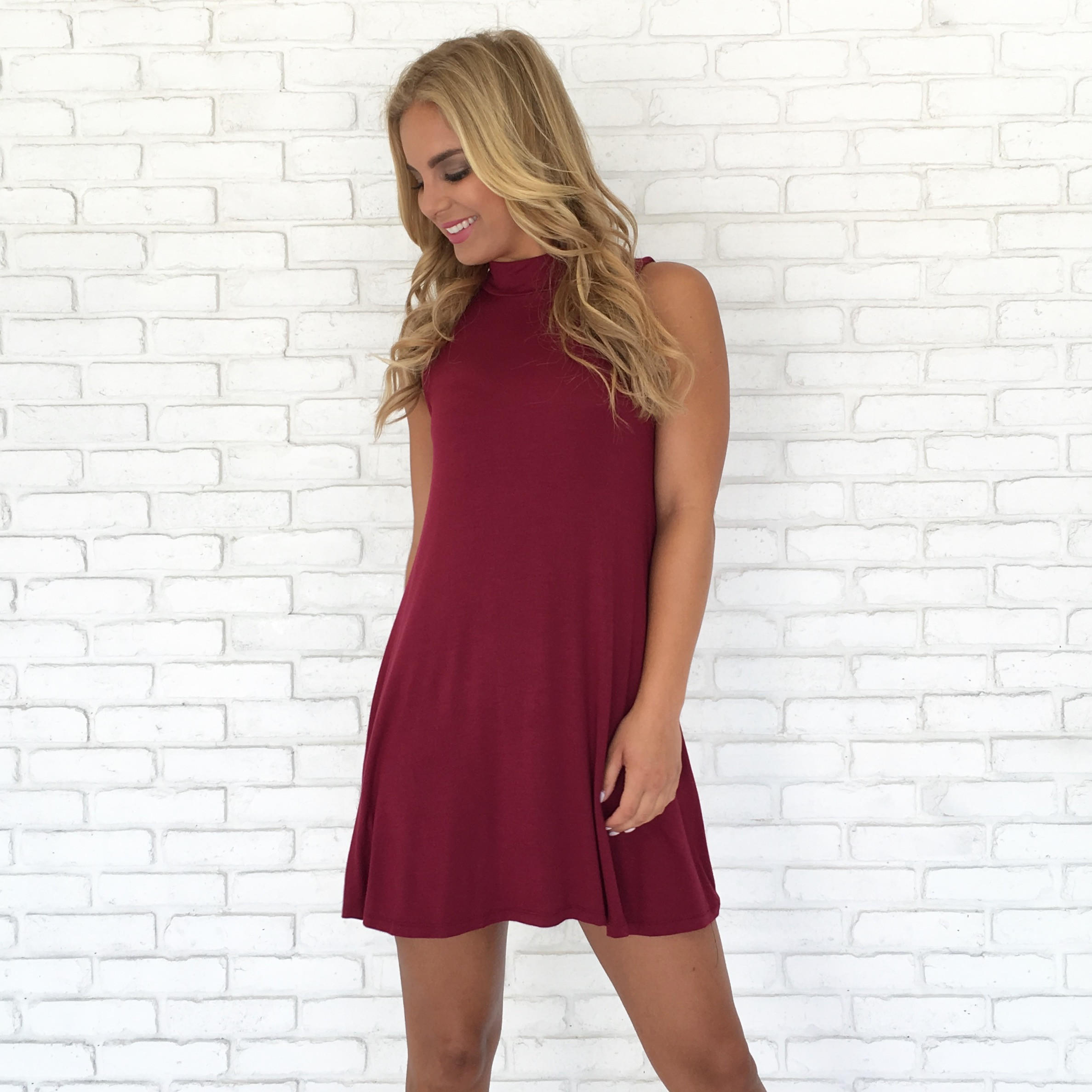 Image of Take Charge Tunic Dress in Burgundy