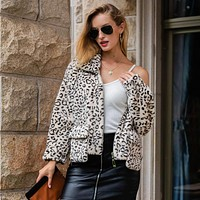 Fashion women's faux fur coat zipper lapel leopard Mao Mao coat