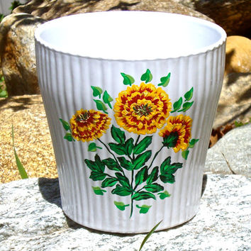 Hand Painted Flowerpot With Marigolds, Hand Painted Flowerpot, Painted Flowerpot, Painted Flowerpot With Red and Yellow Flowers, Gift Ideas