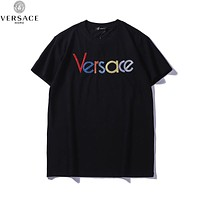 Versace 2019 early spring new color embroidery letter round neck short-sleeved T-shirt Black