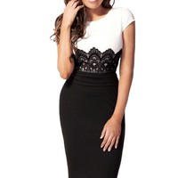 PAKULA® Women's Scoop Neck Contrast-Waist Embroidered Lace Bodycon Slim Dress