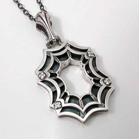 Silver Spider Web Pendant Oxidized Set with by SwankMetalsmithing